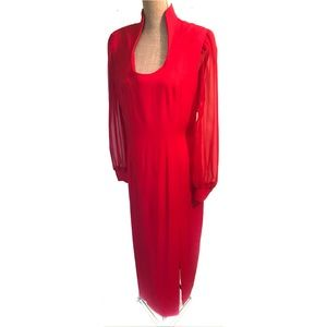 Vintage red sheer sleeve dress